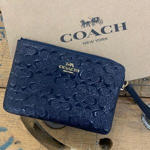 Coach Signature Embossed Blue Leather Wristlet